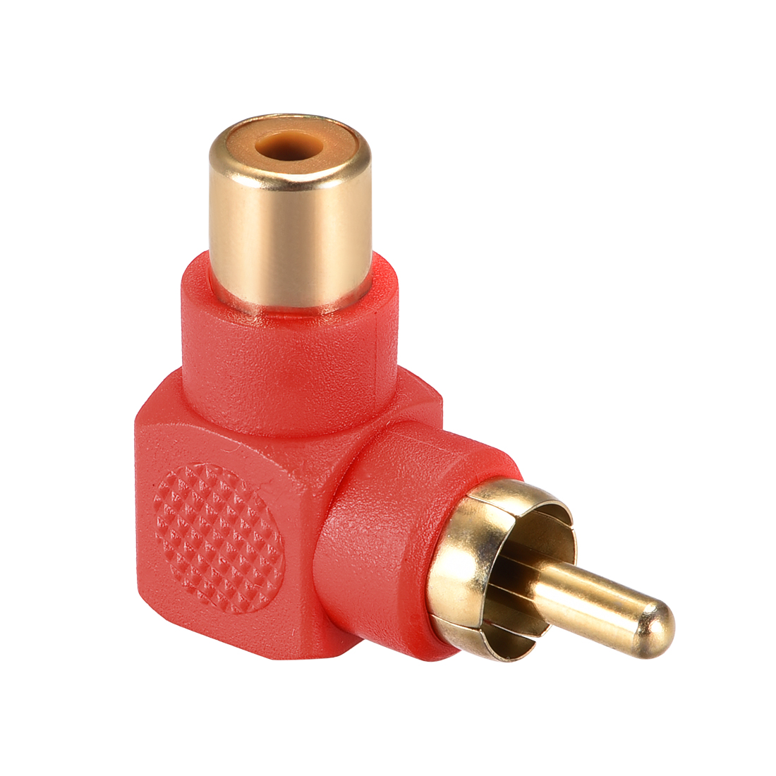 RCA Male to Female 90 Degree Connector Stereo Audio Video Cable Adapter Red