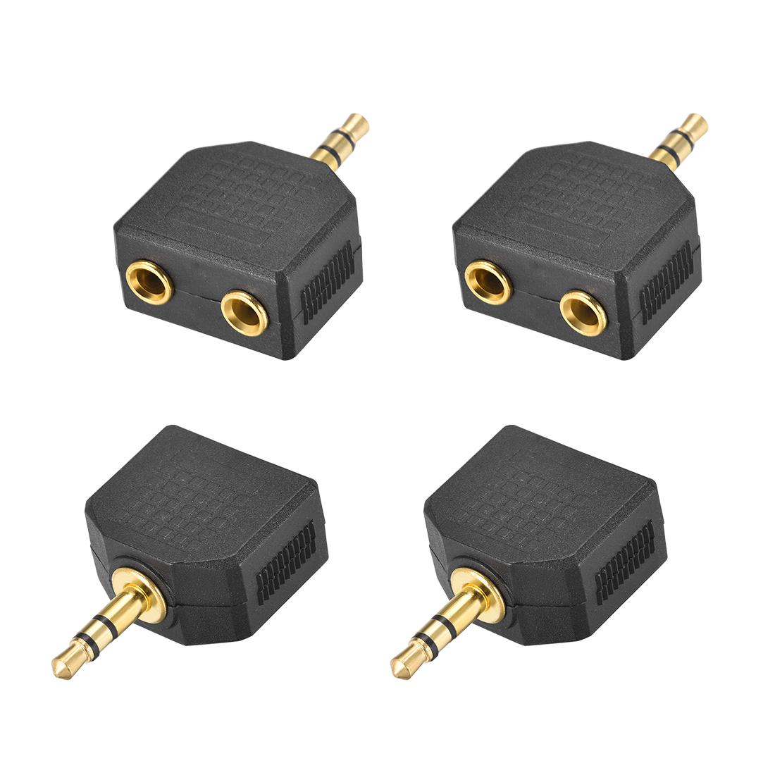 3.5mm Male to Dual 3.5mm Female Splitter Black 4Pcs for Stereo Audio Convert
