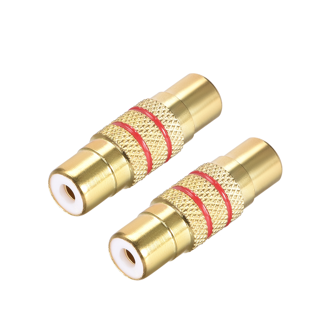 RCA Female to Female Connector Stereo Audio Adapter Coupler 2Pcs Gold Tone