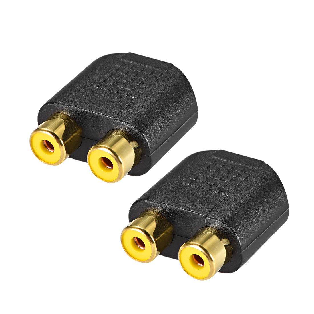 3.5mm Female to 2-RCA Female Stereo Connector Splitter oupler Black 2Pcs