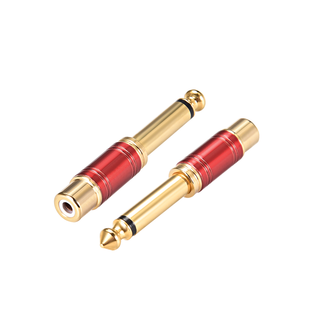 6.35mm Male to RCA Female Mono Audio Video AV TV Adapter Gold Plated Brass 2pcs