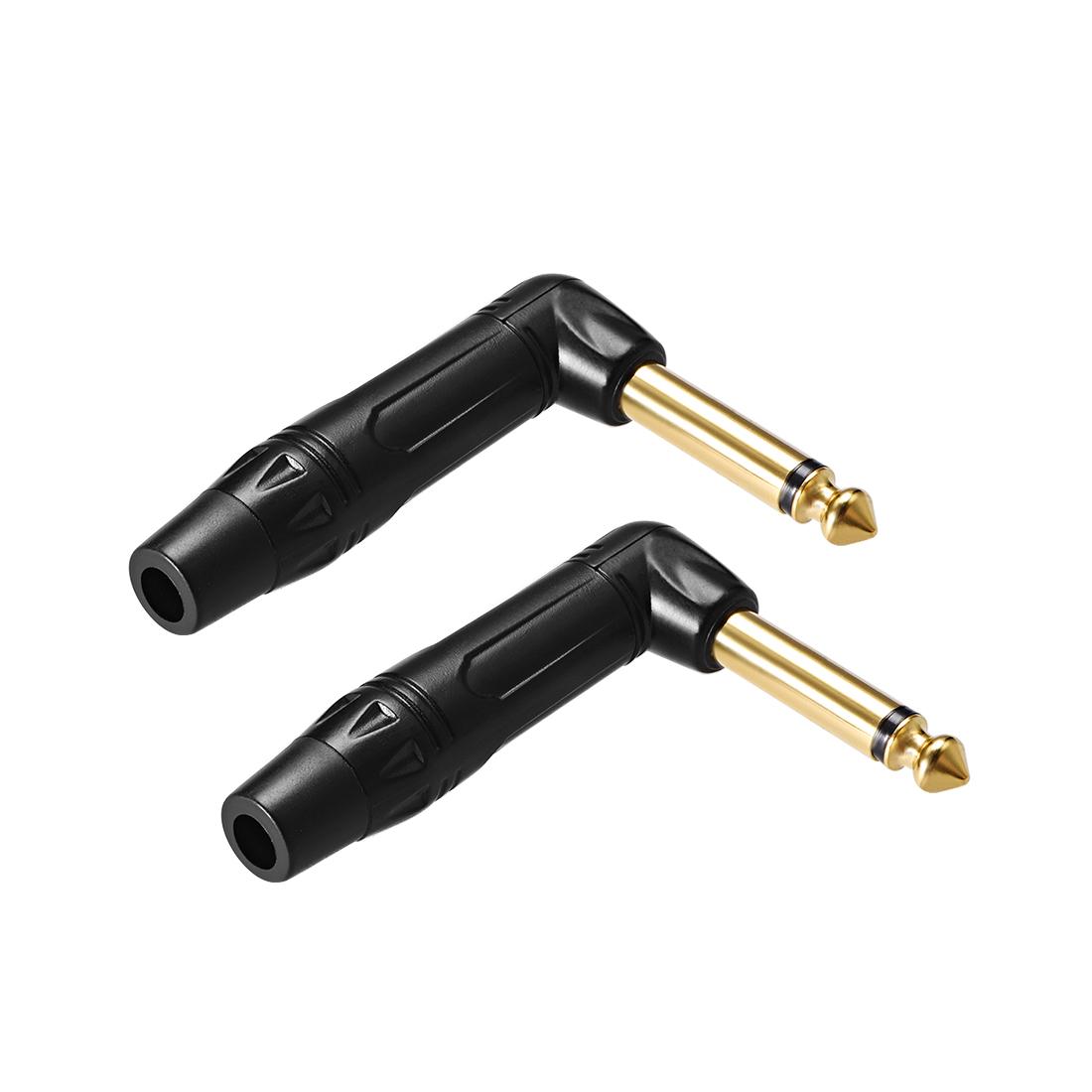 6.35mm Mono Male Jack Solder Connector 90 Degree AV TV Power Adapter Black 2Pcs