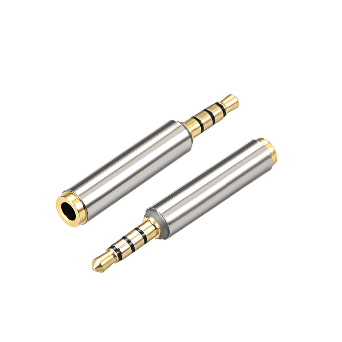 3.5mm Stereo 4 Poles Male to 3.5mm Female Adapter Converters Zinc Alloy 2 Pcs