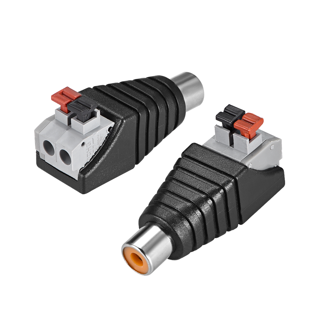RCA Female to Spring Press Terminal Strip Audio Video Connector Adapter 2Pcs