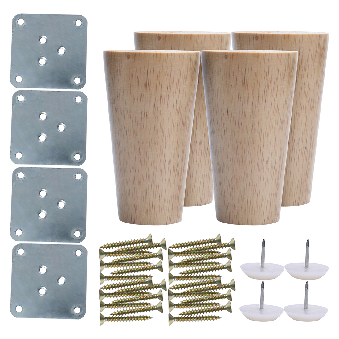 "4"" Wood Furniture Leg Chair Cabinet Feet Replacement Height Adjuster 4pcs"