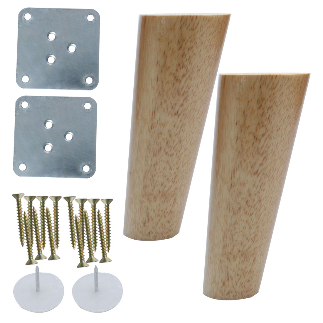 6 Inch Wood Furniture Leg Chair Table Oblique Feet Replacement 2pcs, Wood Color
