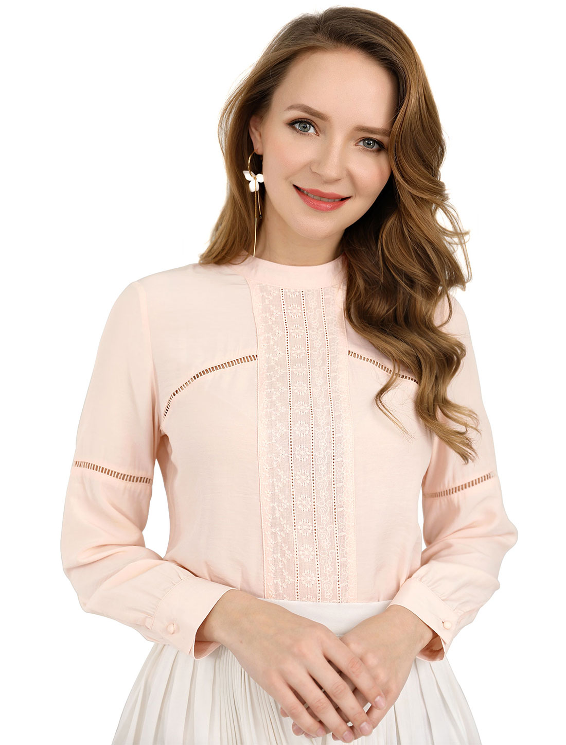 Allegra K Women Embroidery Floral Peasant Blouse Boho Tops Pink XL