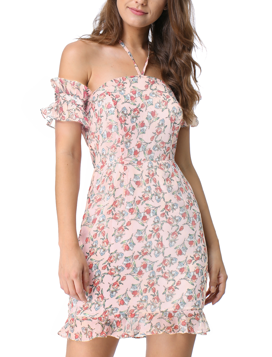 Women's Floral Print Strap Off Shoulder Ruffled Halter Mini Dress Pink XS