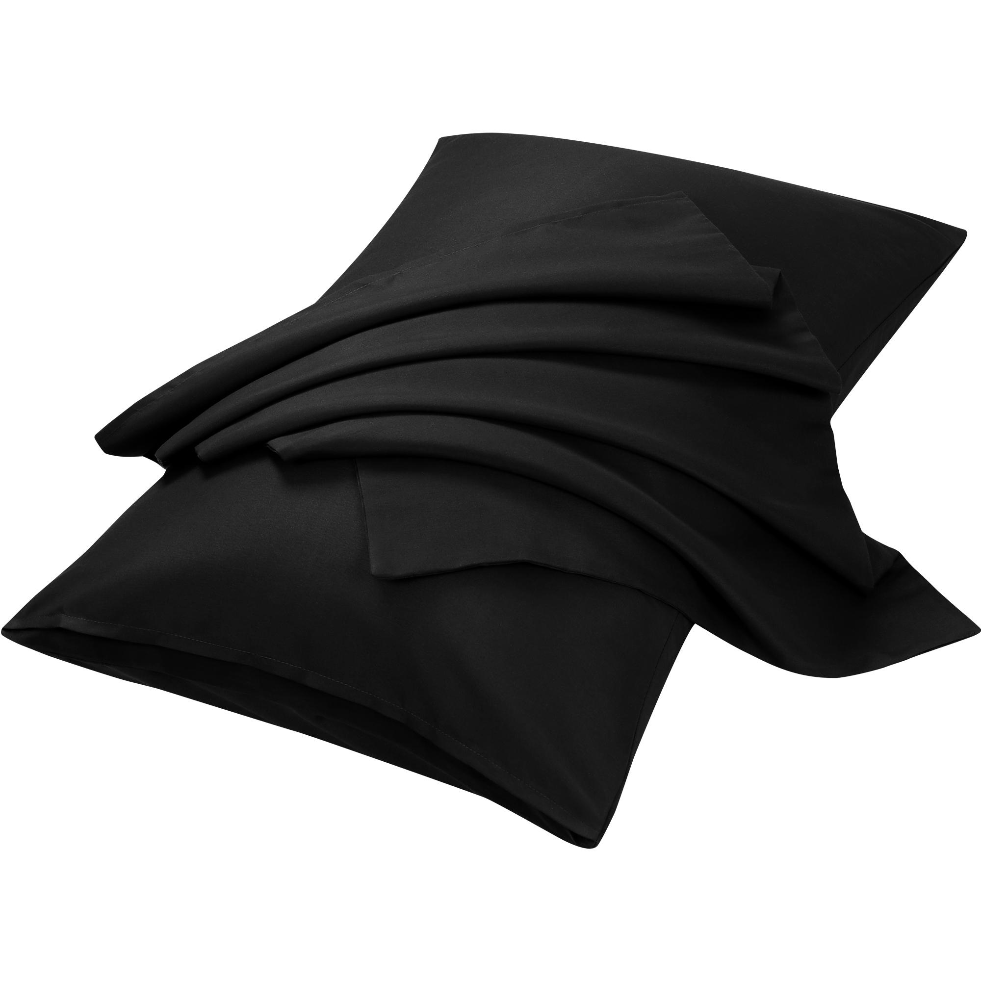 "2pcs Pillowcases Soft Microfiber, No Wrinkle, Black Standard (20"" x 26"")"