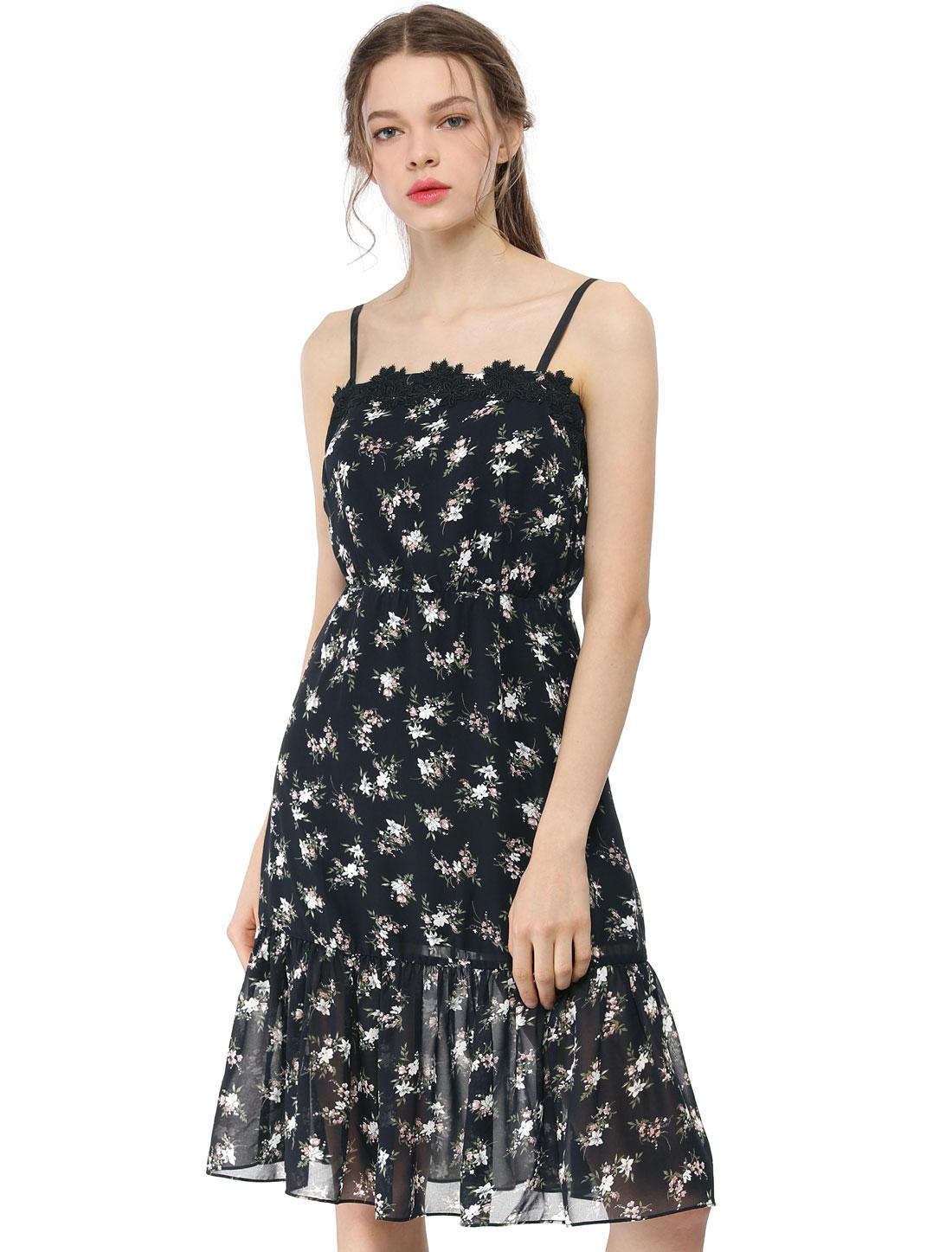 Allegra K Women's Chiffon Spaghetti Strap Midi Floral Dress Black M
