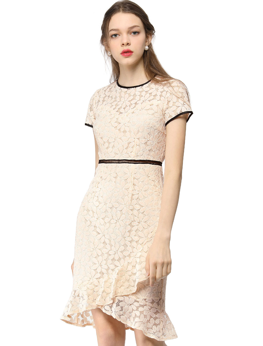 Women's Short Sleeve Contrast Trim Ruffled Floral Lace Dress Beige M