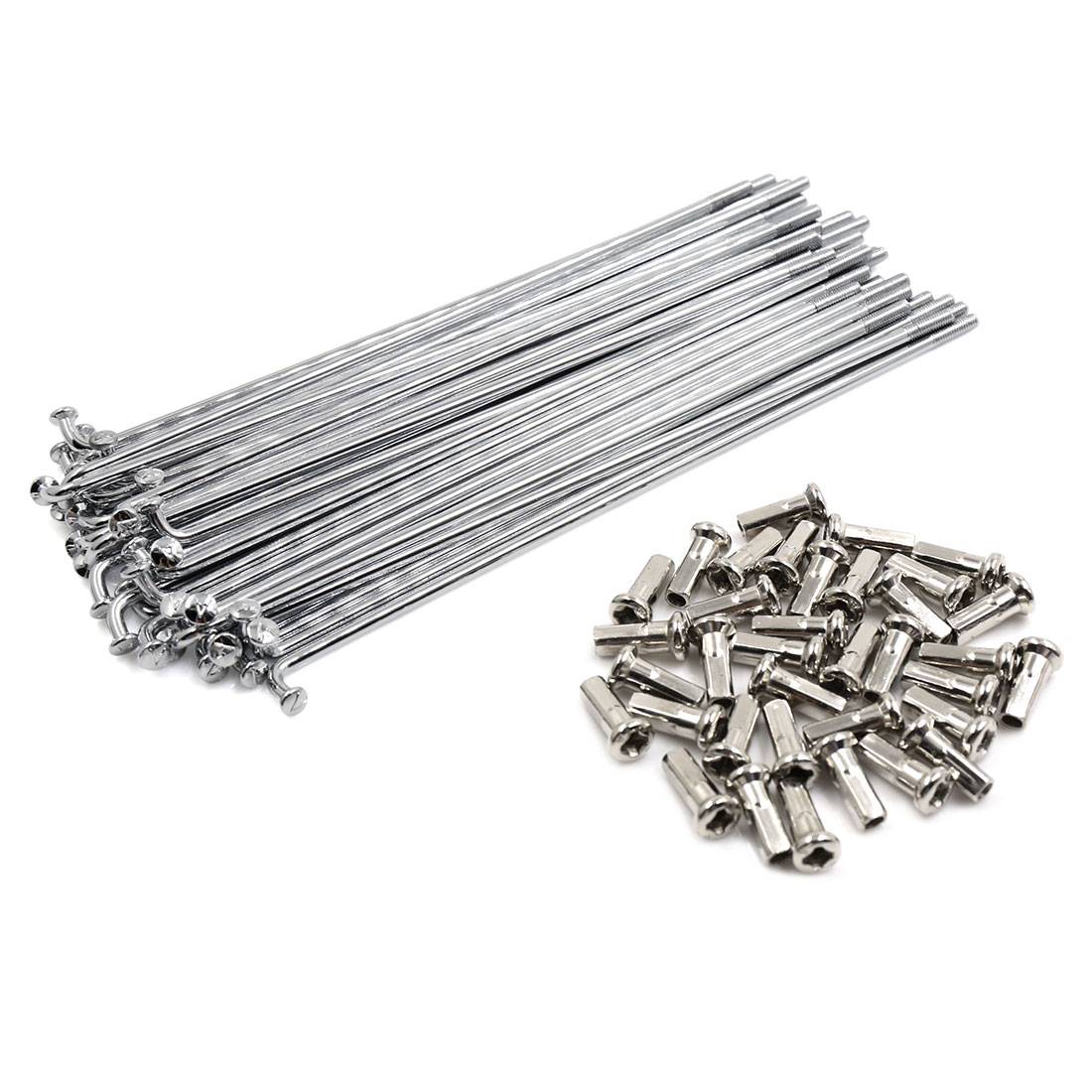 36 Sets Wheel Plated Spoke 175mm Length w/ Nipples Silver Tone for Motorcycle