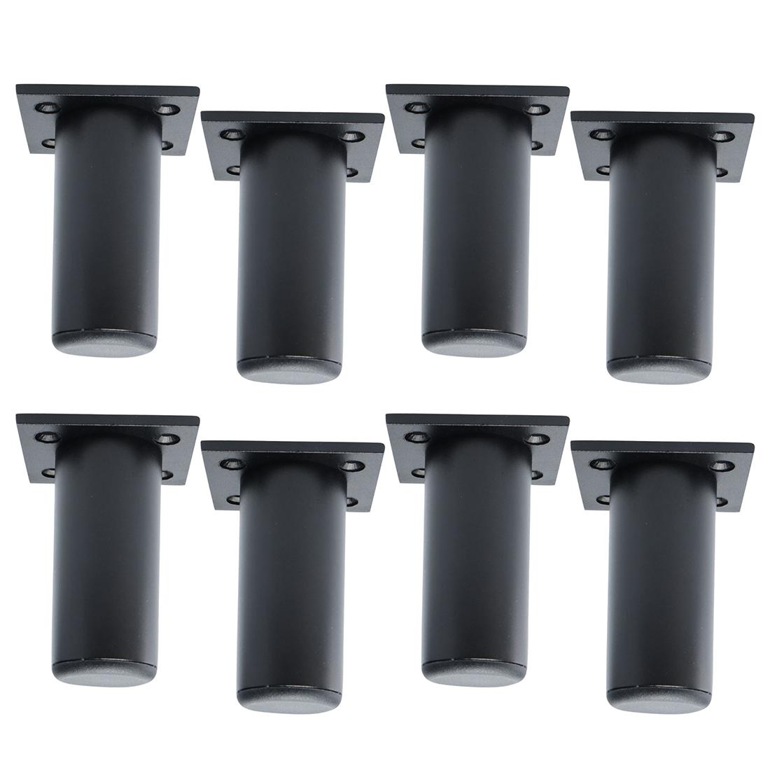"""3"""" Furniture Legs Aluminium Alloy Sofa Replacement Height Adjuster Black 8pcs"""
