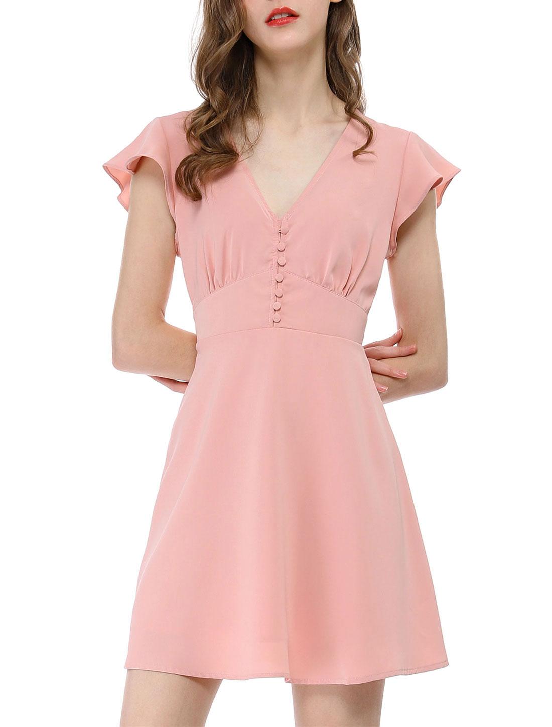 Women's Ruffle Sleeves V Neck Button Elastic Waist Skater Dress Pink XL (US 18)