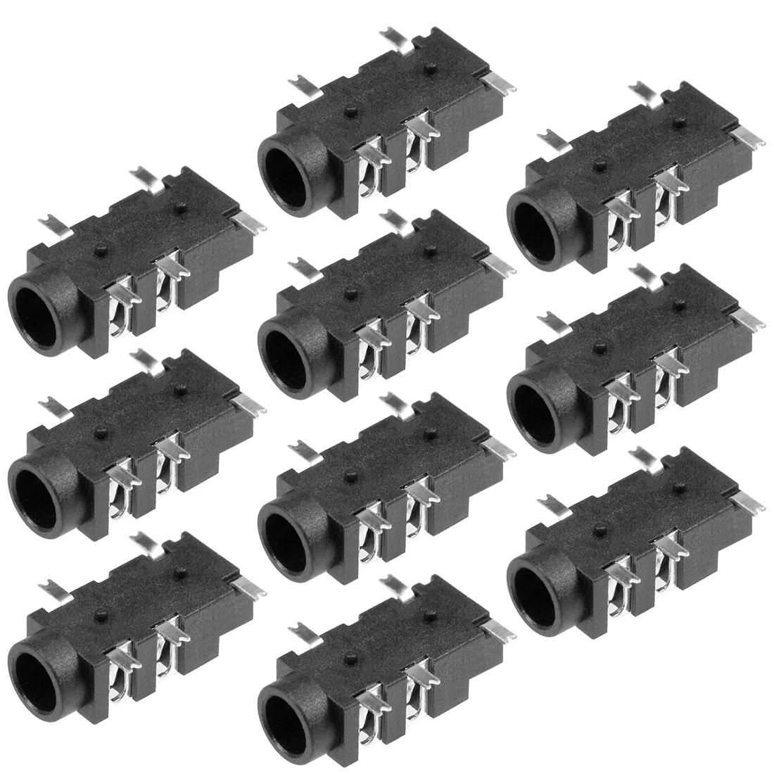 PCB Mount 3.5mm 5 Pin Socket Headphone Stereo Video Connector Black PJ327A 10Pcs