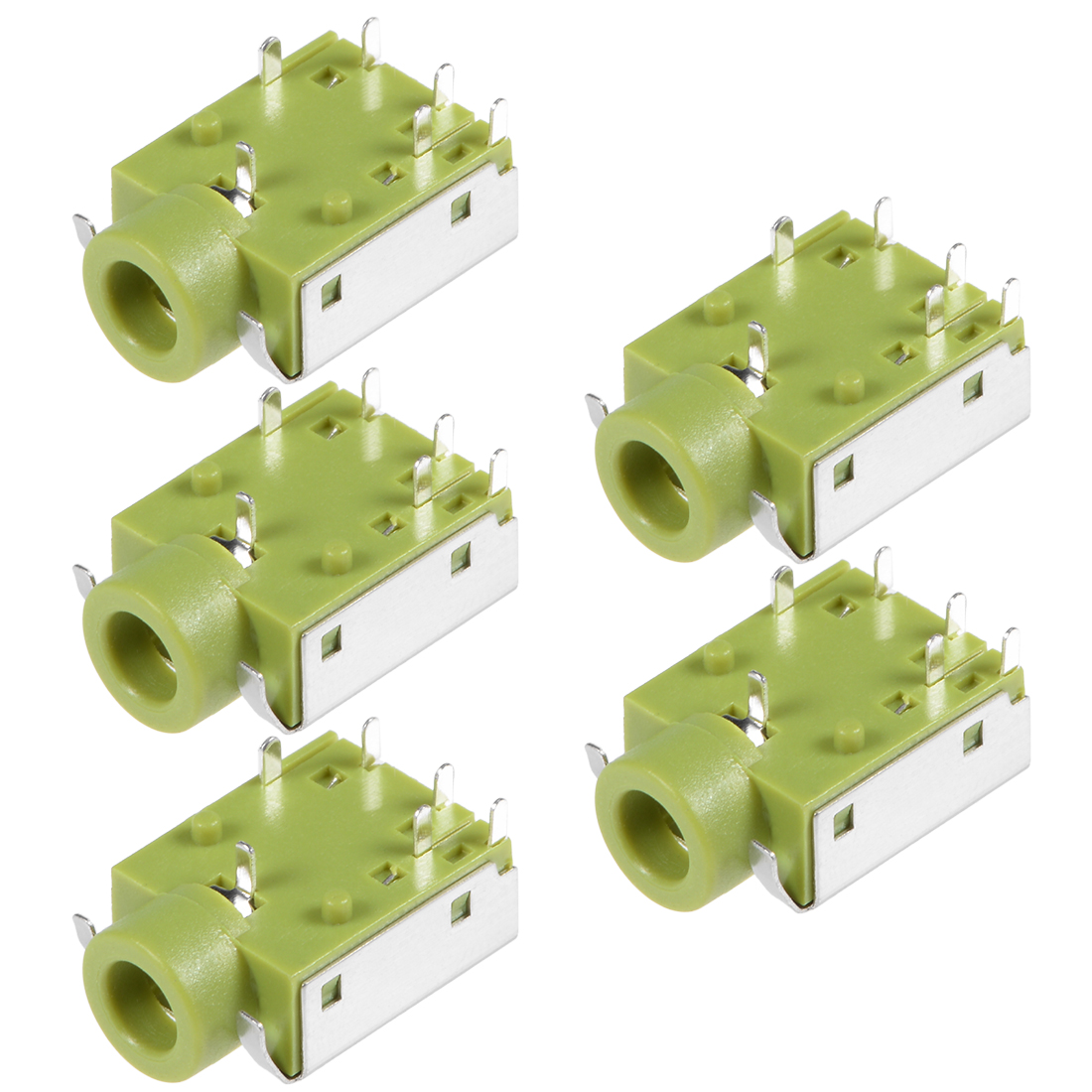 PCB Mount 3.5mm 6 Pin Socket Headphone Audio Video Connector PJ343 Green 5Pcs