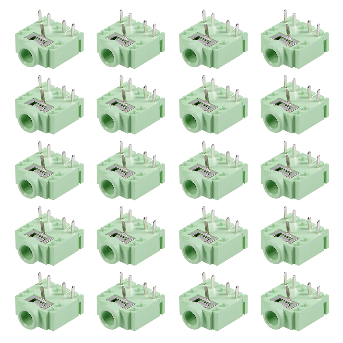 PCB Mount 3.5mm 5 Pin Socket Headphone Stereo Video Connector PJ307 Green 20Pcs
