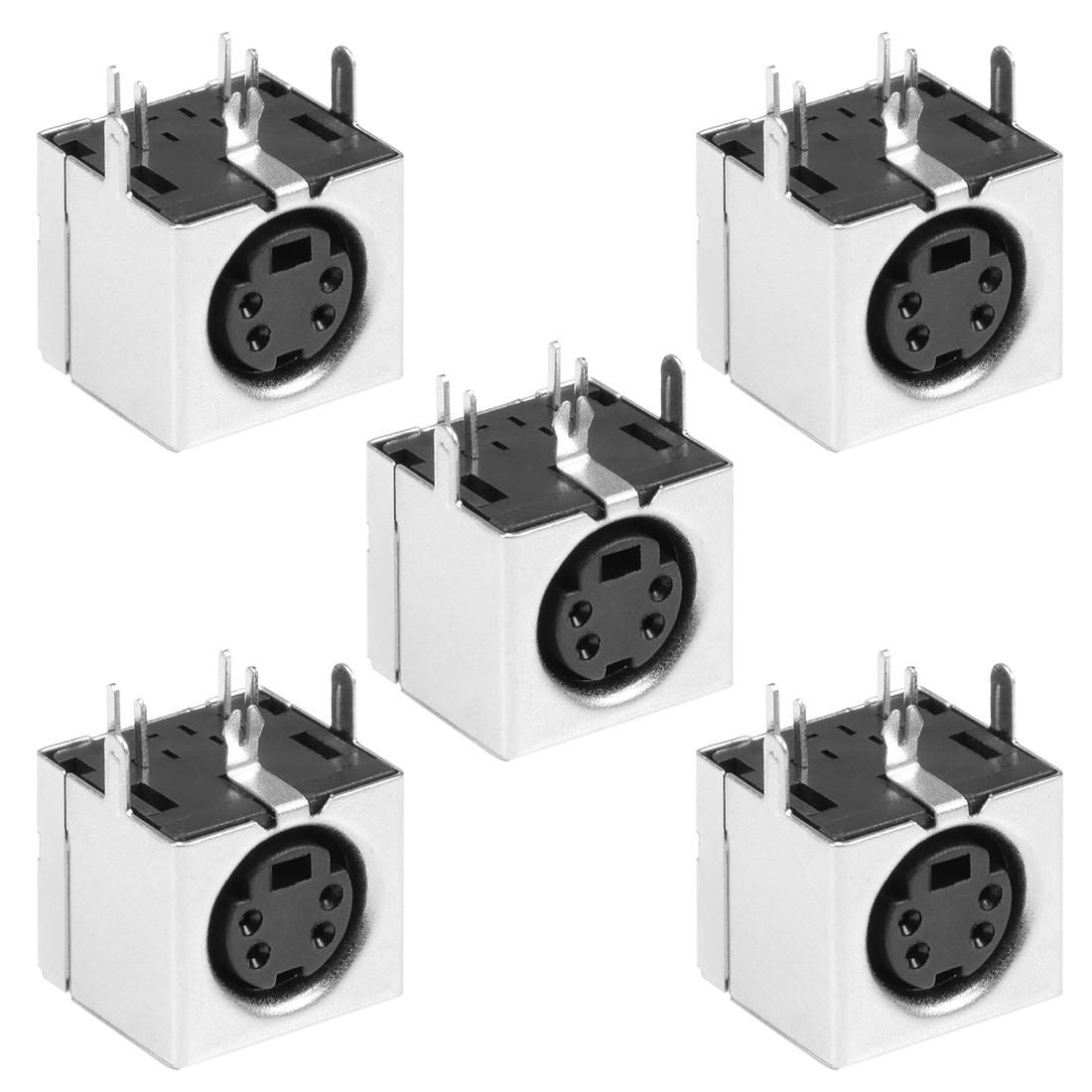 S-video PCB Mount 4 Pin Mini Din Socket Audio Video Connector Black 5Pcs
