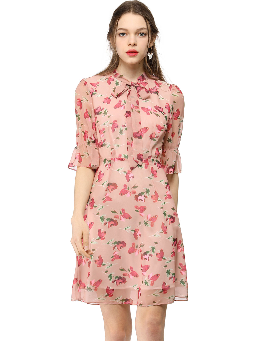 Allegra K Women's Chiffon Tie Neck Floral A-line Dress Pink XS (US 2)