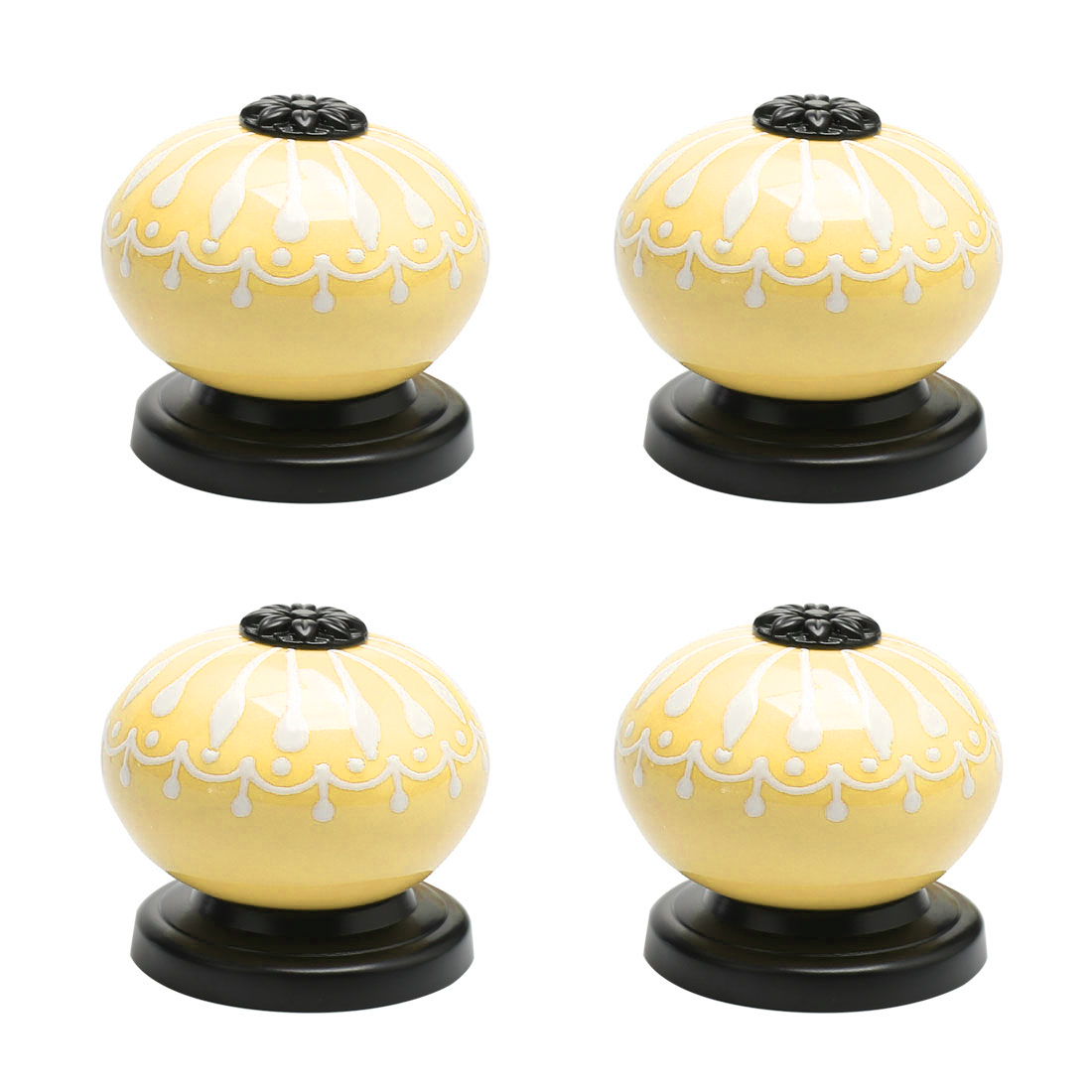Ceramic Knob Pull Handle Dresser Cupboard Wardrobe Door Accessories 4pcs Yellow
