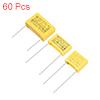 Polypropylene Capacitor Assortment Kit DIP 275VAC 0.0022uF 0.022uF 0.22uF 60 Pcs