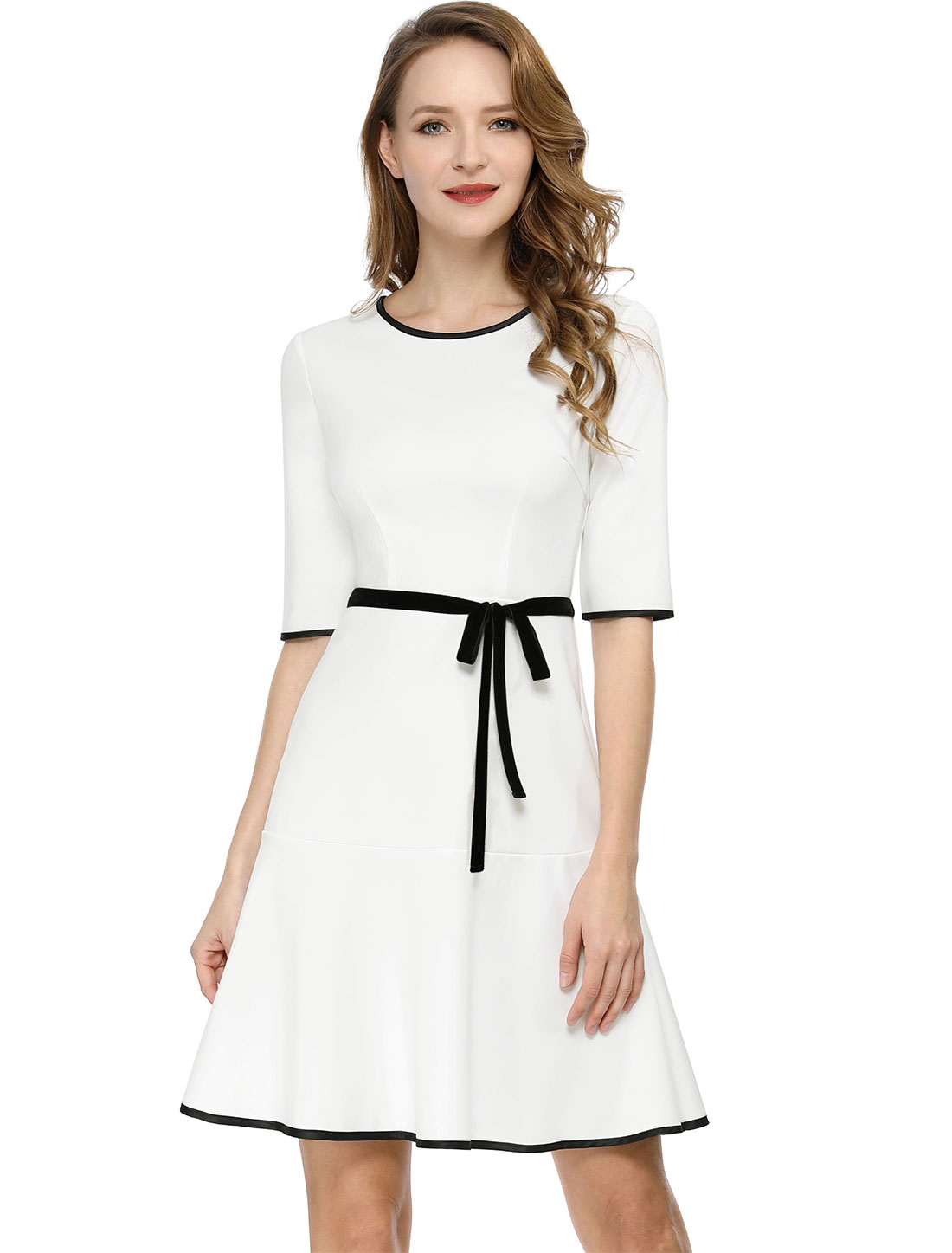 Women's Half Sleeve Contrast Trim Ruffled Hem A-line Dress White M (US 10)