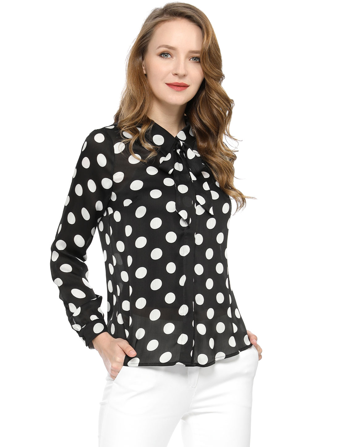Allegra K Women's Tie Neck Blouse Button Down Polka Dot Shirt Black XS