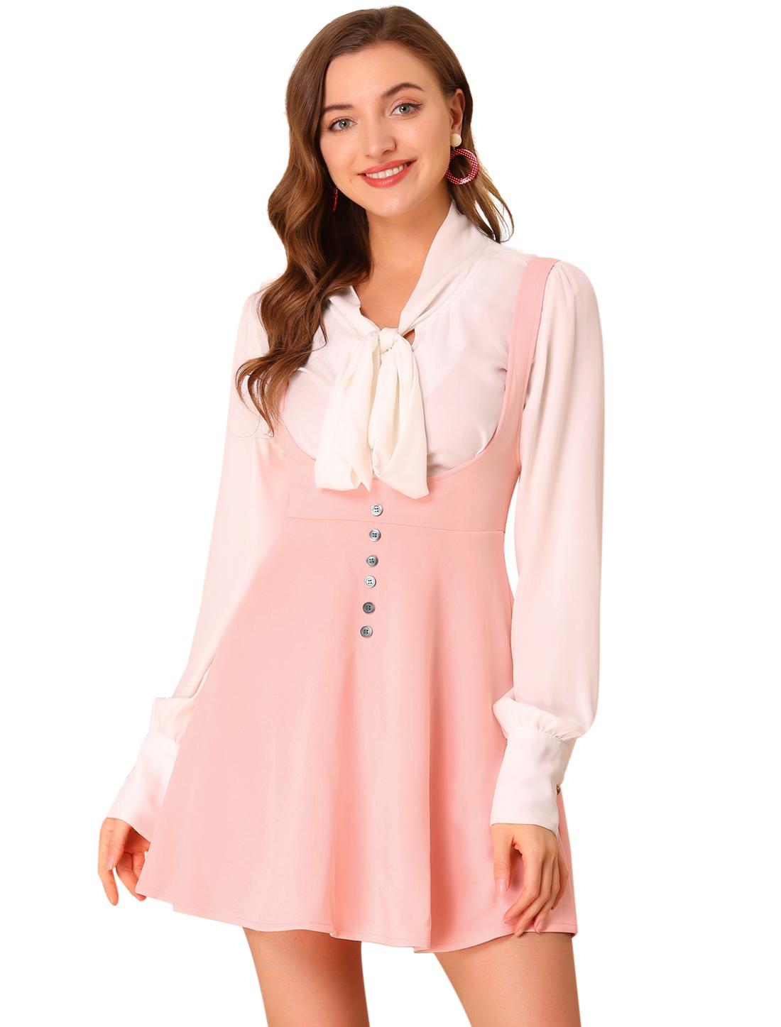 Women's Solid Button Decor Flared Hem Overall Dress Suspender Skirt Pink XL