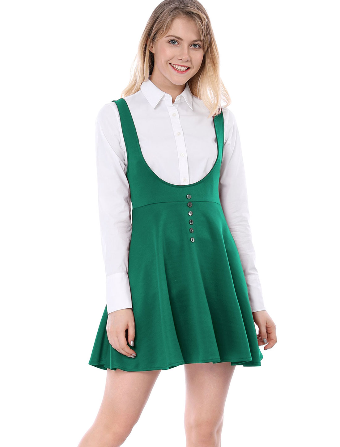 Allegra K Women Button Decor Flared Hem Above Knee Dress Suspender Skirt Green S