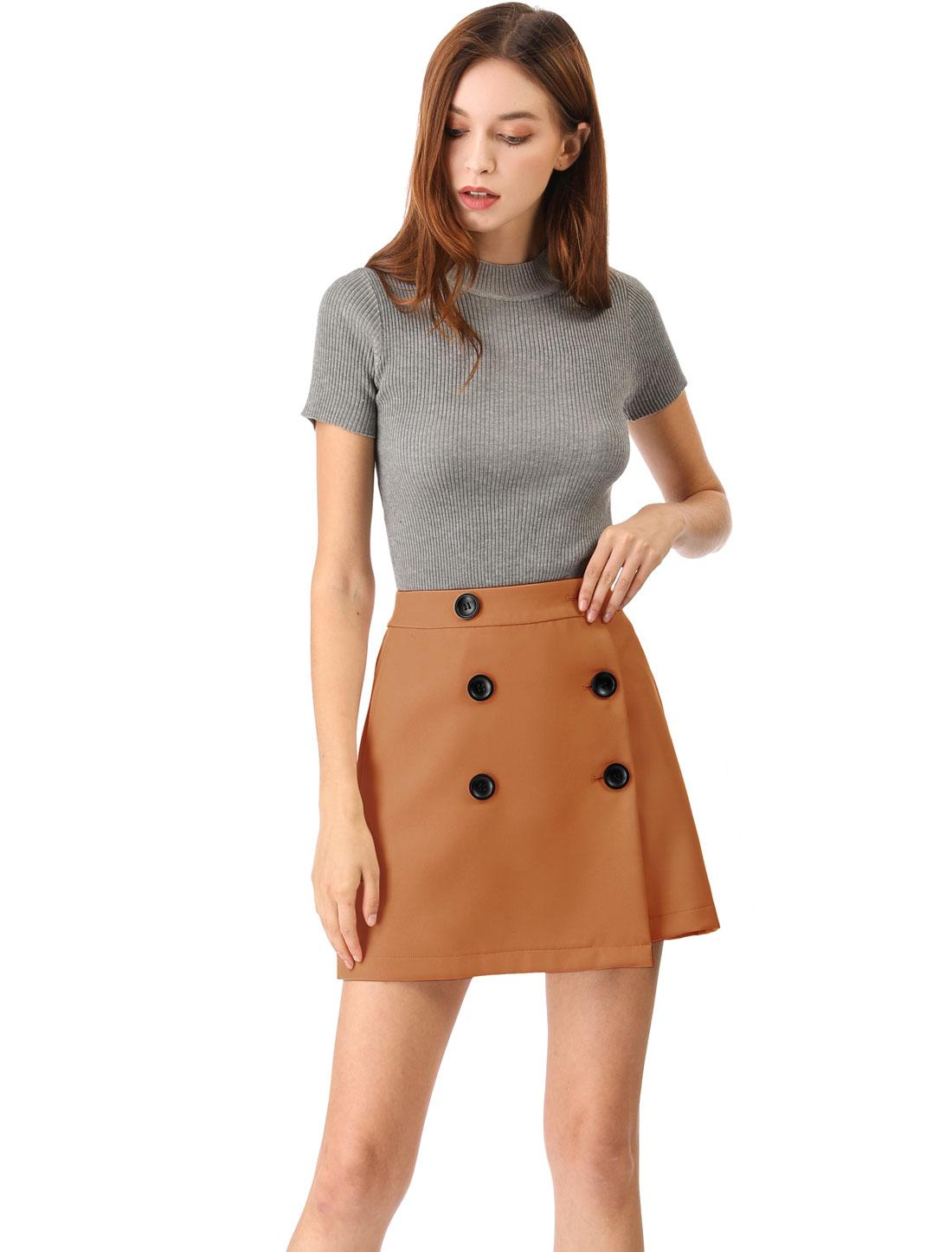 Women's High Waist A-line Above Knee Button Up Skirt Brown XL