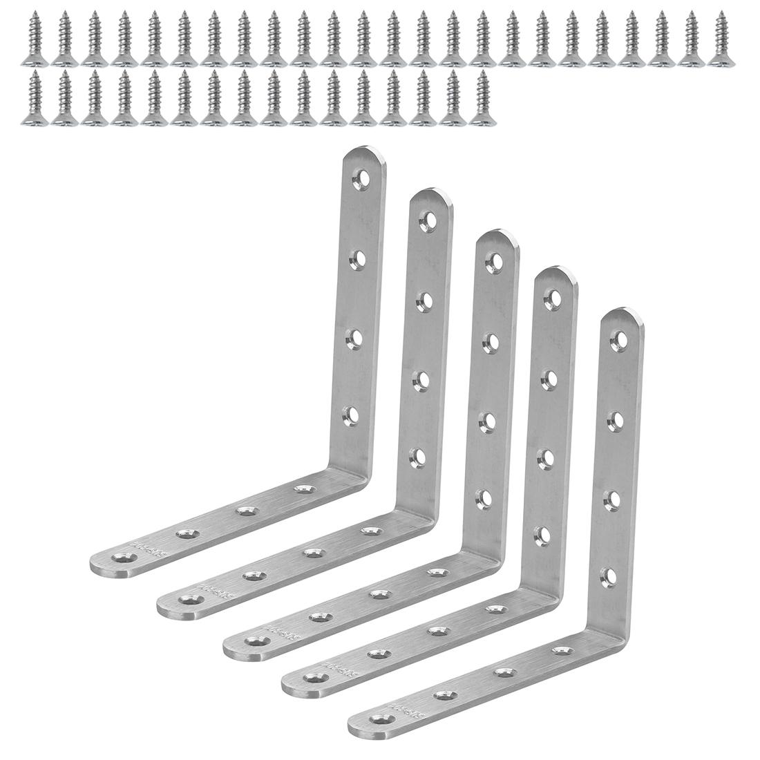 Angle Bracket Stainless Steel Brace Fastener Support w Screws 125 x 125mm, 5pcs