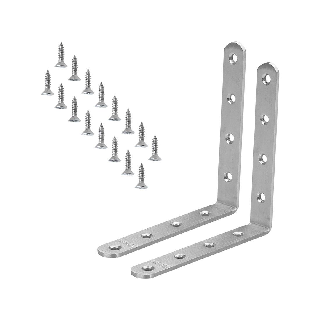 Angle Bracket Stainless Steel Brace Fastener Support w Screws 150 x 150mm, 2pcs