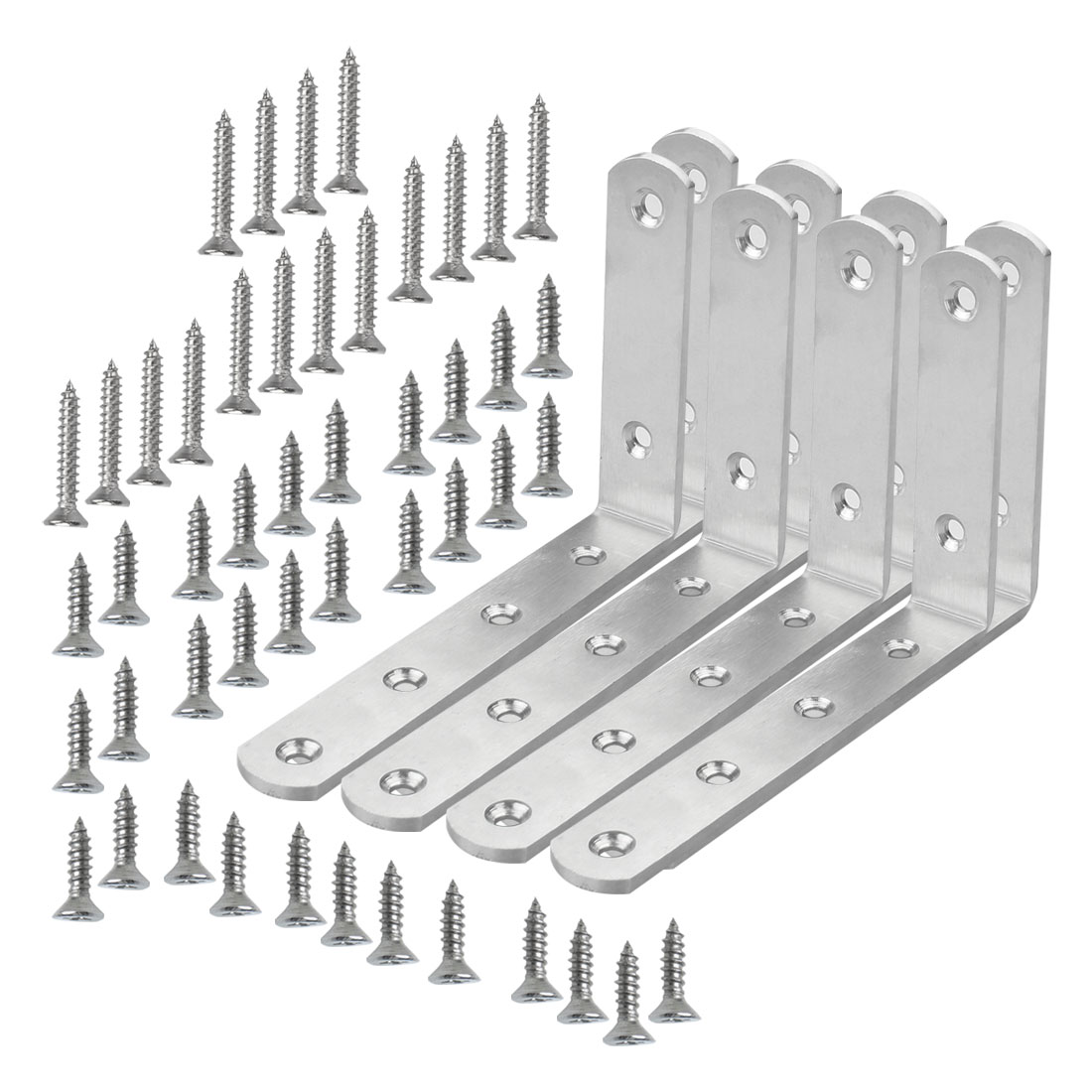 Angle Bracket Stainless Steel Brace Fastener Support w Screw 125 x 75mm, 8pcs