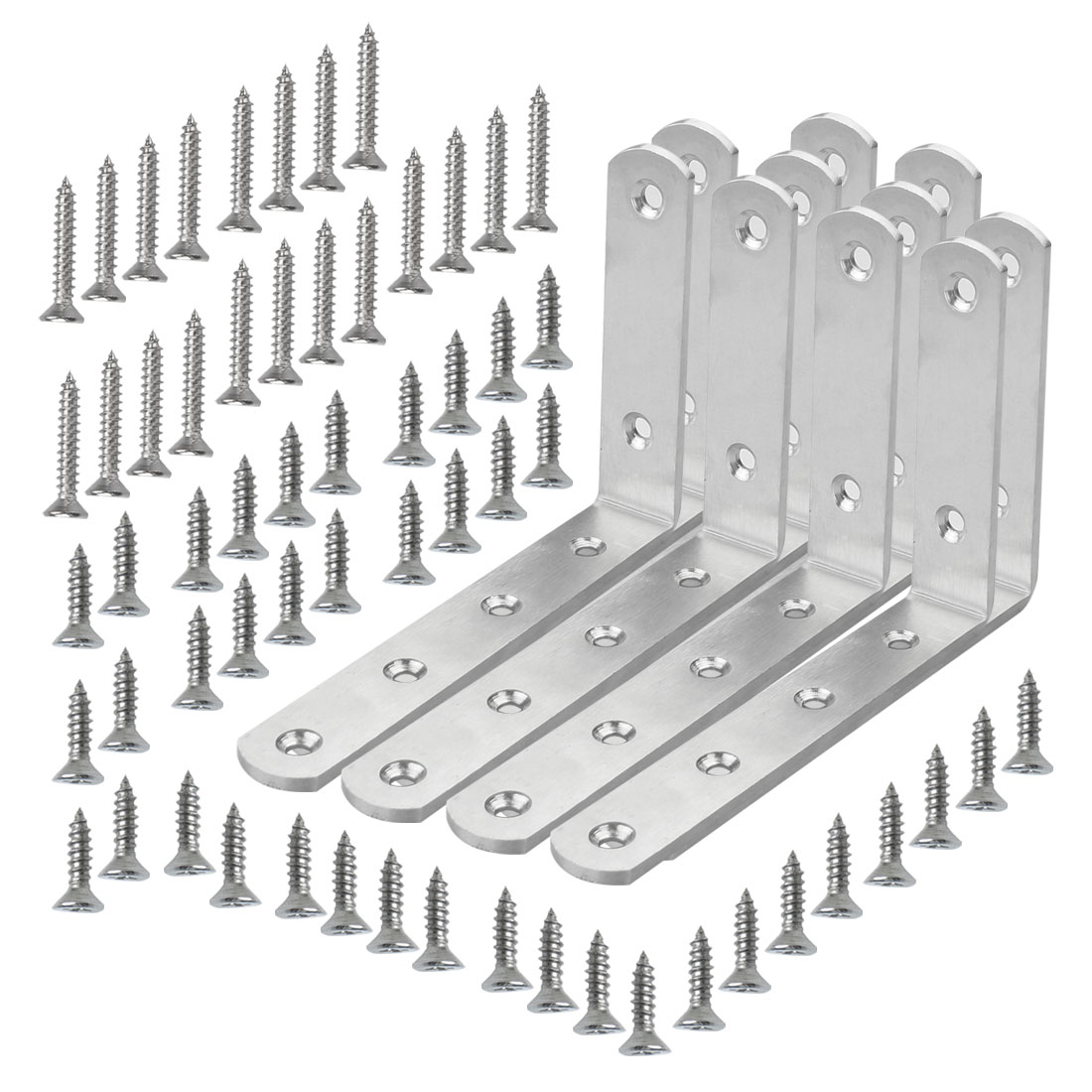 Angle Bracket Stainless Steel Brace Fastener Support w Screw 125 x 75mm, 10pcs