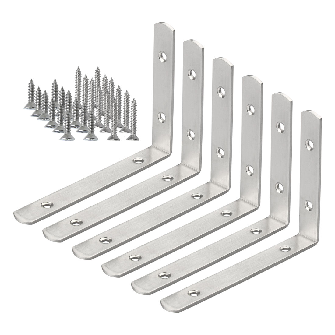 Angle Bracket Stainless Steel Brace Fastener Support w Screws 150 x 110mm, 6pcs