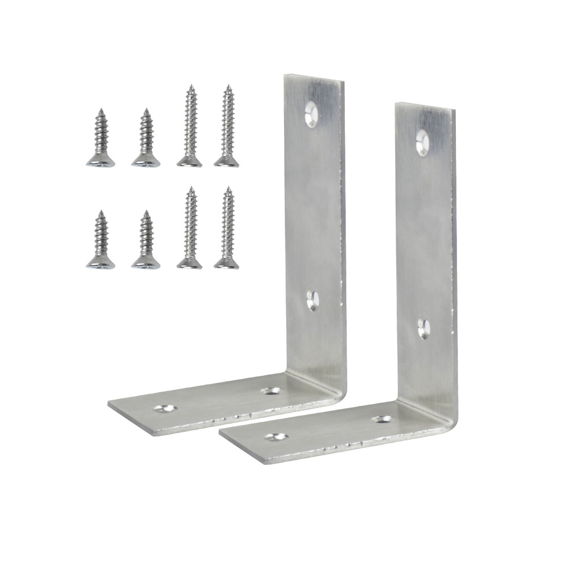 Angle Bracket Stainless Steel Brace Fastener Support w Screws 125 x 85mm, 2pcs
