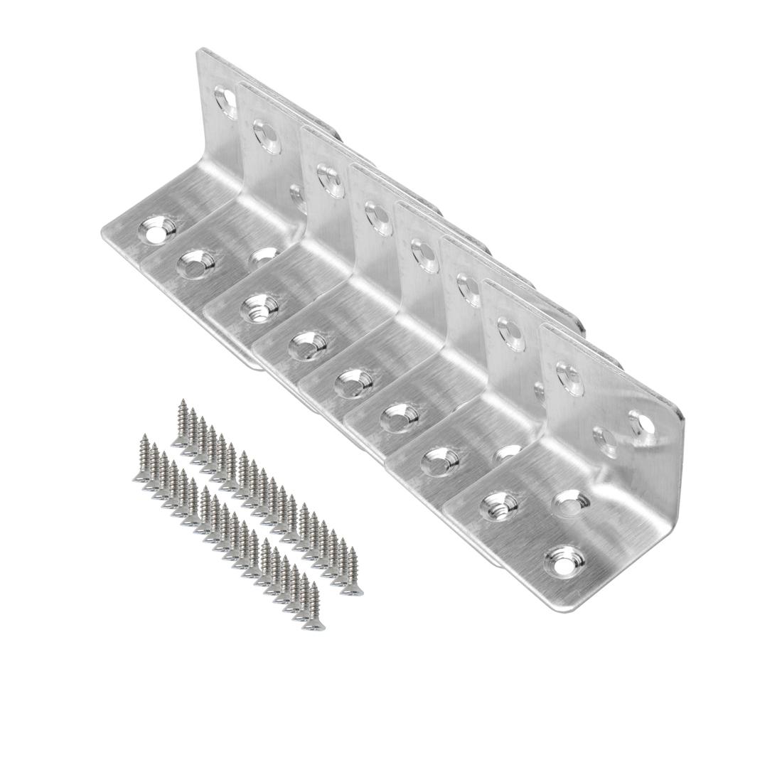 Angle Bracket Stainless Steel Brace Shelf Support w Screws 30 x 30mm, 8pcs