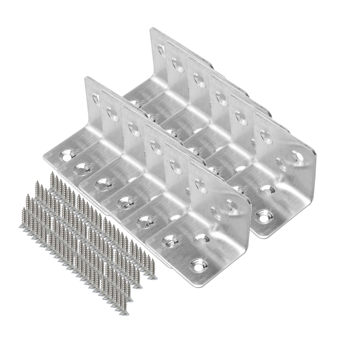 Angle Bracket Stainless Steel Brace Shelf Support w Screws 30 x 30 x 38mm, 12pcs