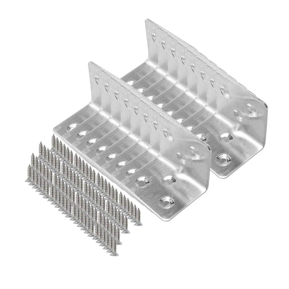 Angle Bracket Stainless Steel Brace Shelf Support w Screws 30 x 30mm, 16pcs