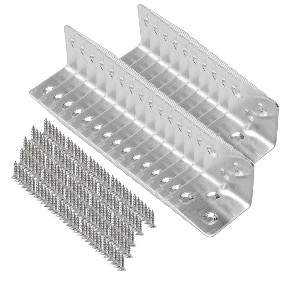 Angle Bracket Stainless Steel Brace Shelf Support w Screws 30 x 30 x 38mm, 25pcs