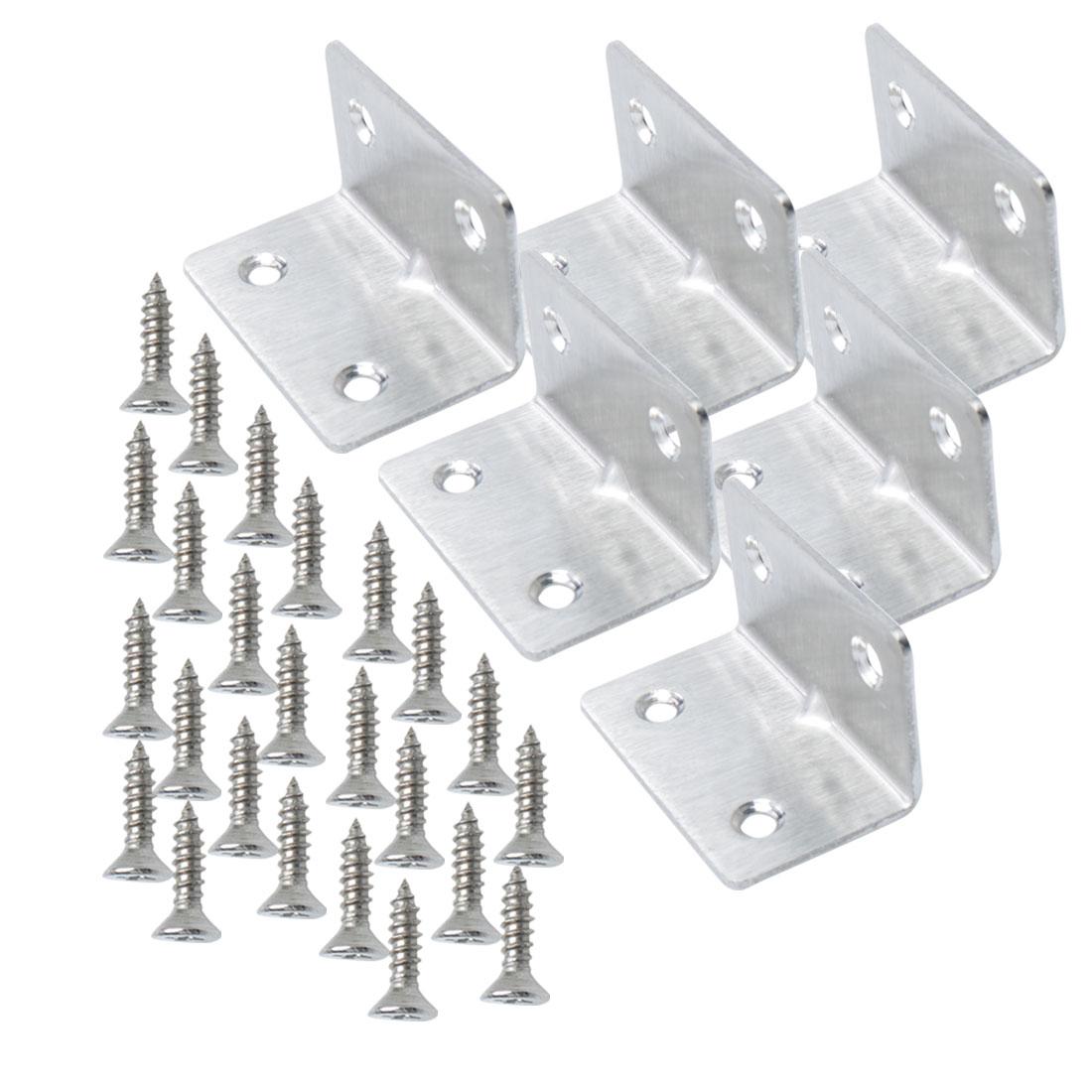 Angle Bracket Stainless Steel Corner Brace Shelf Support w Screw 30 x 30mm, 6pcs