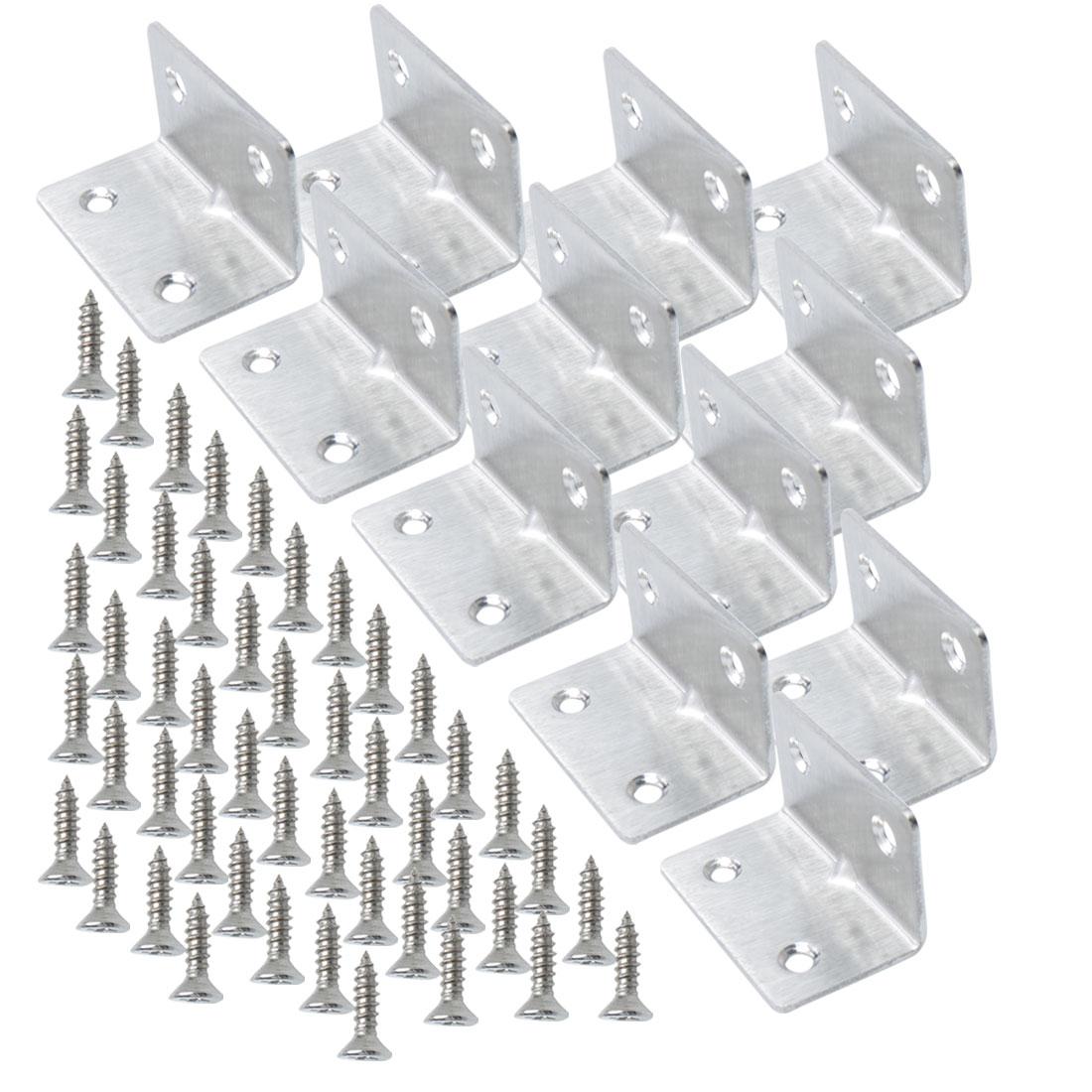 Angle Bracket Stainless Steel Corner Brace Support w Screw 30 x 30 x 50mm, 12pcs