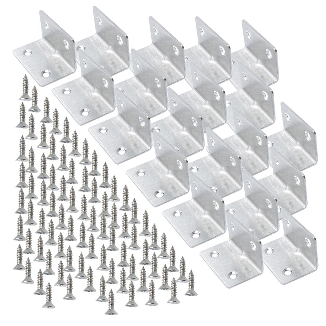 Angle Bracket Stainless Steel Corner Brace Support w Screw 30 x 30 x 50mm, 20pcs