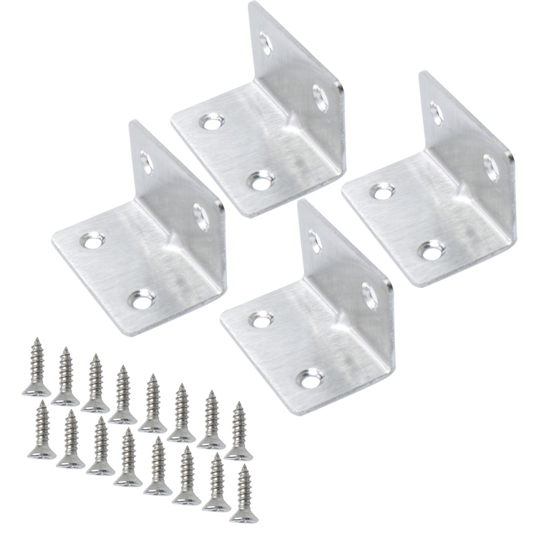 Angle Bracket Stainless Steel Corner Brace Shelf Support w Screw 33 x 33mm, 4pcs