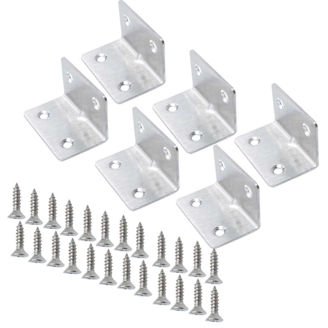 Angle Bracket Stainless Steel Corner Brace Shelf Support w Screw 33 x 33mm, 6pcs