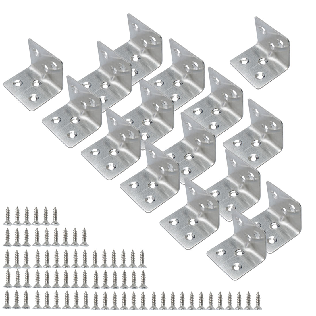 Angle Bracket Stainless Steel Brace Connection Fastener w Screw 40x40mm, 16pcs
