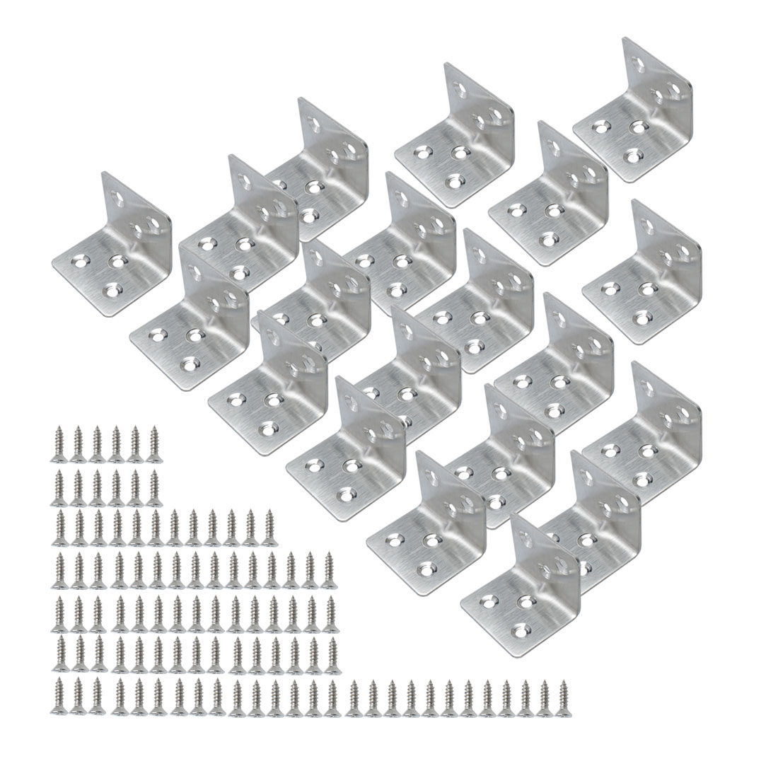 Angle Bracket Stainless Steel Brace Connection Fastener w Screw 40x40mm, 20pcs