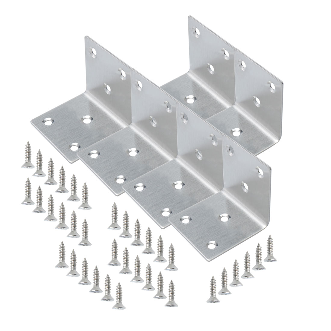 Angle Bracket Stainless Steel Brace Connection Fastener w Screw 50x50mm, 6pcs