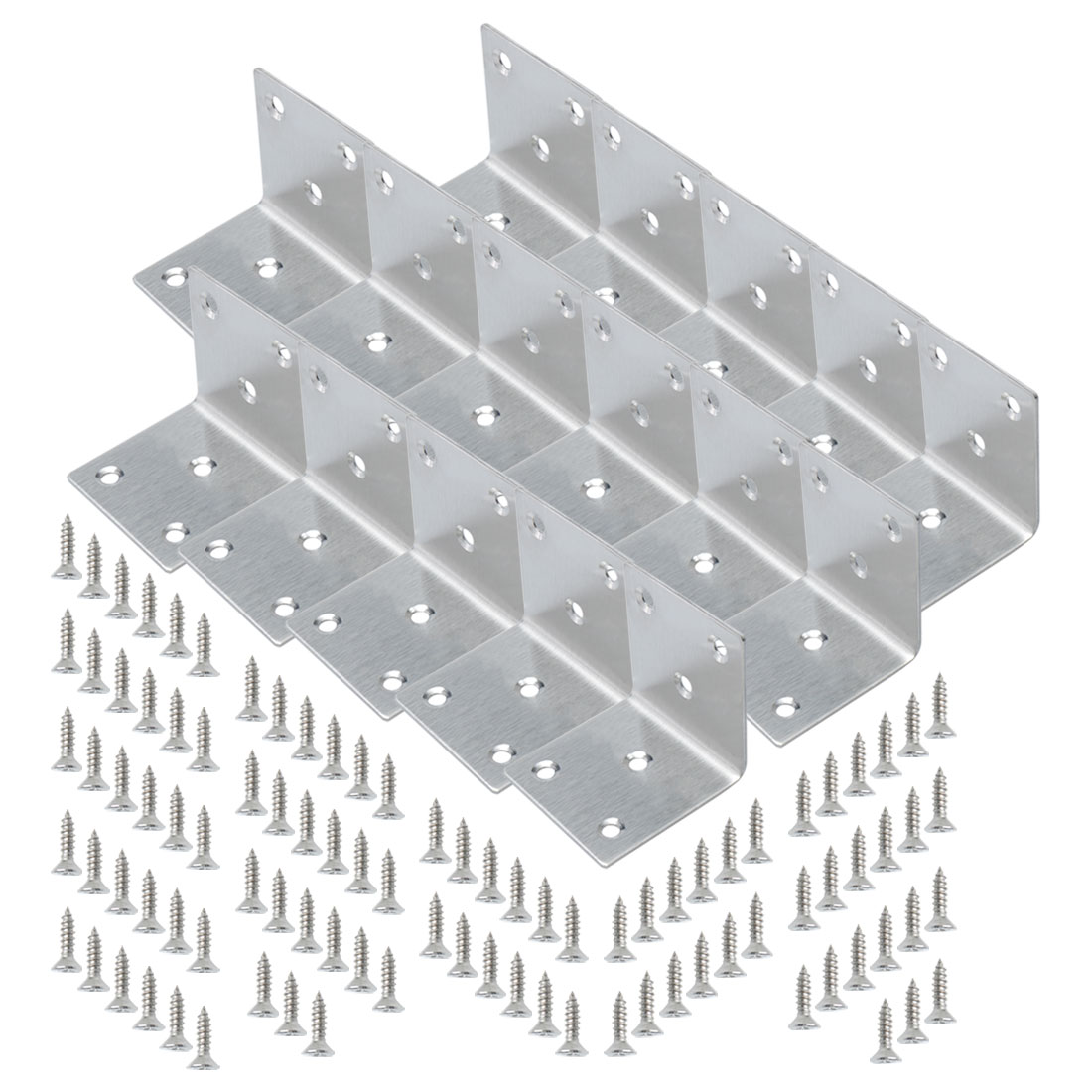Angle Bracket Stainless Steel Brace Connection Fastener w Screw 50x50mm, 16pcs