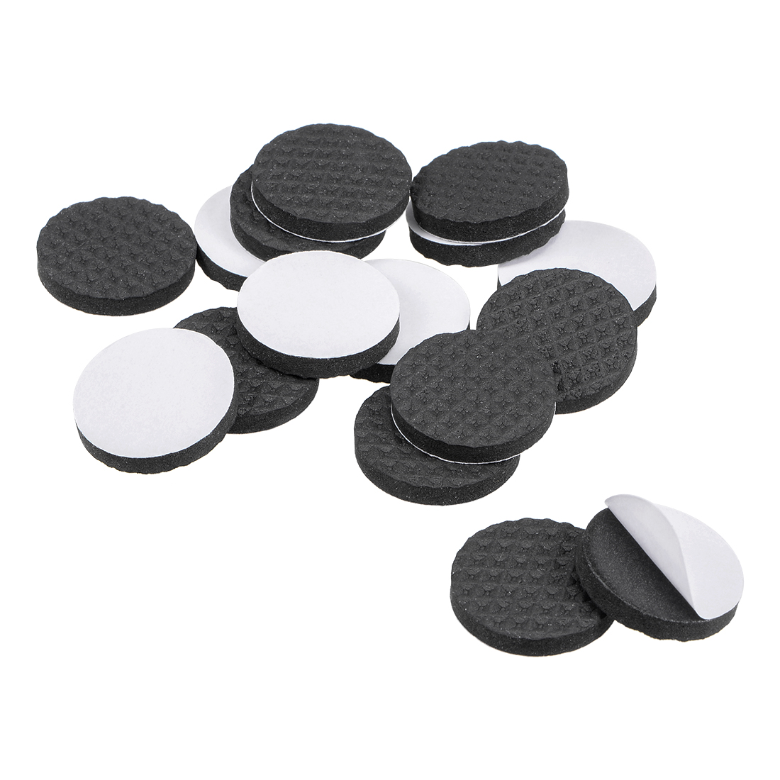 Furniture Pads Adhesive Rubber Pads 25mm Dia 4mm Thick Round Black 16Pcs